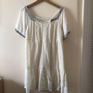White Peasant Babydoll Dress